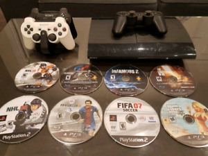 ps3+ 2 wireless controllers+ games