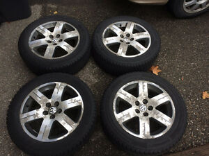 Set of 4 205/55/16 Continental WinterContact SI with VW alloys