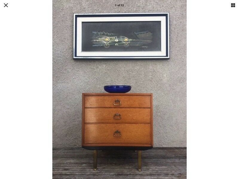 Unusual Mid Century 'G Plan' Style Chest Of Drawers On Legs Danish Style