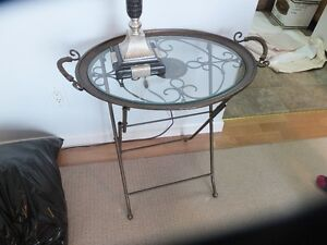 Glass top/metal folding table