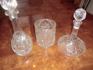 crystal decanters and ice buket