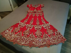 Bridal Lengha (red with lace and stone work)