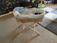 Moses Basket with New Waterproof Mattress & Stand