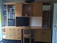 Bespoke home study unit/desk/office. Solid wood. Huge amount of storage for files,tv,computer etc