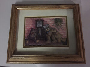 Teddy bear picture in wooden frame