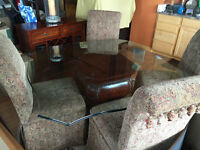 Bombay Glass Top Dining Set & Sidebar Cabinet