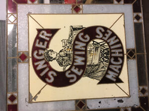Singer sewing sign , stained glass