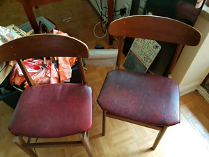 two teak mid century modern chairs