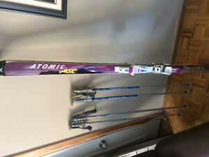 Atomic 175 downhill ski and poles