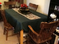 Wood rectangle dining table  with insert $35