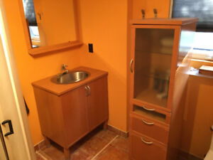 ENSEMBLE MEUBLES SALLE DE BAIN IKEA (cabinet, armoire et miroir)
