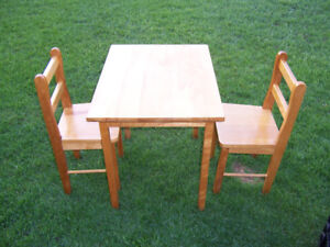 Small wood kids table and 2 chairs only $60