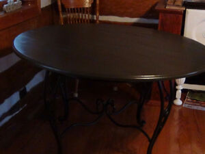 Round Wooden Table with Wrought Iron Style Base