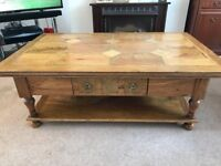 Solid Oak double drawer coffee table.