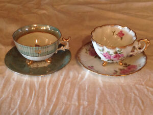 Three Footed Tea Cups and Saucers