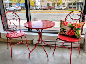 Bistro table and two chairs $40 or 2 sets for $65