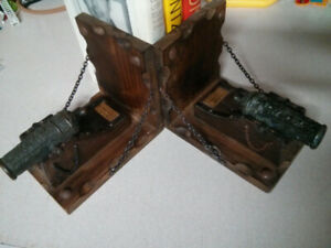 Cannon chained to wood stand book ends Stamped Made in Spain