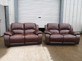 Real brown leather recliner sofas couches suite 🚚🚚