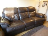 Torino 3 & 2 seat brown real leather reclining sofas. Sell together or separately.