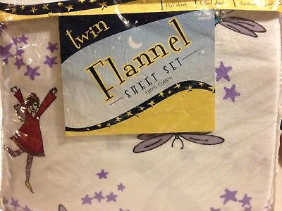 NEW Divatex Twin Flannel Sheet Set With Fairies 100% Cotton Purple/Blue/White