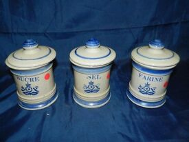 3 blue and white french kitchen canisters