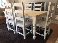 Amazing 5ft Shabby Chic Chunky Farmhouse PineTable and 6 Lovely Chairs