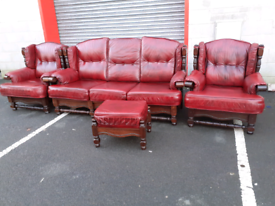 Mahogany Framed Oxblood Leather 3 Seater Sofa, 2 Chairs and Footstool