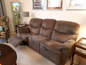 Brown declining microfiber couch