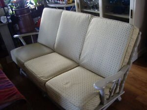 VINTAGE 1969,GERMAN MFG OAK LIVING ROOM SOFA & 2 CHAIRS