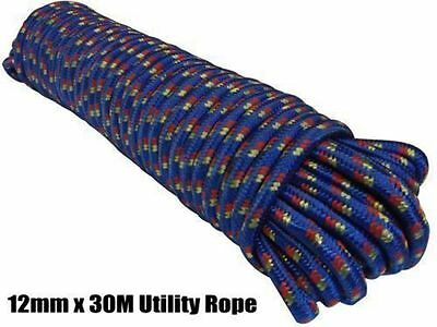 Heavy Duty Braided Rope Waterproof Flexible Polypropylene Fibre 30M 12mm Thick
