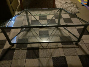 Large glass TV stand for sale.