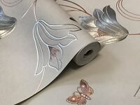 Brand new Feature Wallpaper Metallic Rose Gold Silver Floral Trail