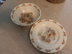 Bunnykinns plate and bowl Royal Doulton