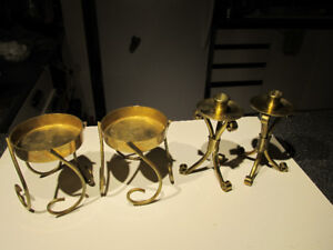 2 brass sets of pillar and stick candle holders.