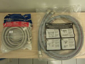 Brand new stainless steel and plastic hoses for a washer machine