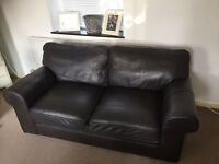 2-3 seater brown leather sofa great condition £100