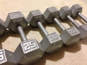 Set Hex Dumbbells 10lbs to 40lbs no bench squat rack weights