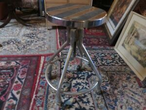 VINTAGE CHROME SHOP STOOL SWIVEL TOP GREAT CONDITION ASKING $65