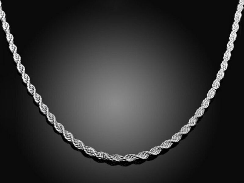 Silver Sterling Plated Rope Chain Necklace Diamond Cut 2mm Men Women Rope Chain
