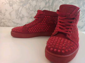 Christian Louboutin Red Spike Suede High Top Trainers- Size 40