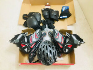 LIKE NEW Roller Blades + Complete protection gear