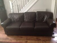 Large 3 seater and 2 seater leather sofa