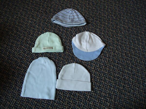 Lot of 5 Boys Size 0-3 Months Cotton Hats Kingston Kingston Area image 1