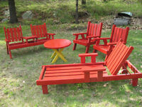 5 Piece Red Wooden Patio Furniture Set $325