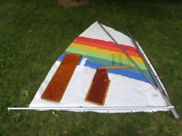 OPTIMIST sail,mast,spars, dagger board & rudder ALL IN only;