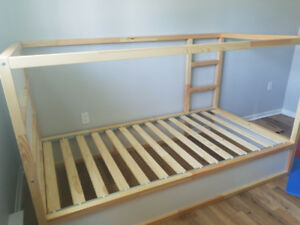 Twin matrress +  Reversible bed(KURA)IKEA, white, pine . All new