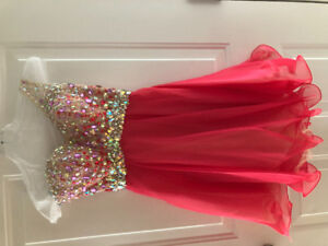 Beautiful coral one shoulder prom dress