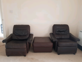 2 x Brown Leather Armchairs and Foot Rest