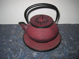 Brand New 3 Piece Cast Iron Small Asian Themed Teapot and Stand