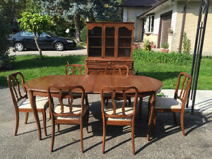 Beautiful antique wooden dining table and chair set with buffet London Ontario image 1